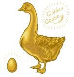 Gallina dalle uova d'oro, oca su un fondo bianco, uovo dorato illustrazione vettoriale