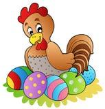 Gallina de la historieta con los huevos de Pascua Imagen de archivo