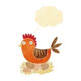 gallina del fumetto sulle uova con la bolla di pensiero Fotografia Stock