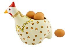 Gallina delle terraglie con le uova Immagine Stock Libera da Diritti