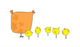 Gallina e polli Immagine Stock