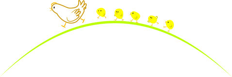 Gallina e polli Fotografia Stock