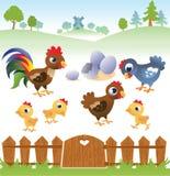 Gallina, gallo e pollo svegli del fumetto con paesaggio Fotografia Stock