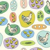 Gallina, pequeños pollos y modelo inconsútil de los huevos libre illustration