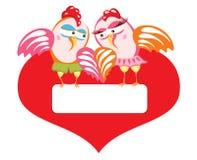 Gallina y gallo en amor. Fotografía de archivo libre de regalías