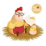 Gallina y polluelo de la historieta que leen un libro libre illustration