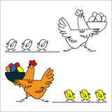 Gallina y polluelos libre illustration