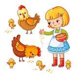 Gallinas y pollos de alimentación de la muchacha stock de ilustración