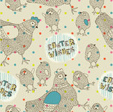 Gallinas y polluelos de Pascua Foto de archivo