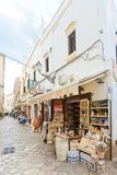 Gallipoli, Apulia - MAY 2017 - Traditional souvenir shops in the Royalty Free Stock Image