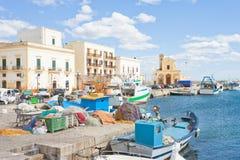 Gallipoli, Apulien - Fischerboote am Seehafen von Gallipoli Lizenzfreies Stockbild