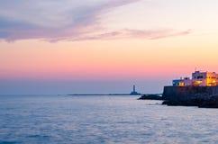 Gallipoli au coucher du soleil, Puglia (Italie) Image libre de droits
