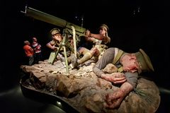 The Gallipoli exhibit at Te Papa Museum, Wellington, NZ. WWI machine gunners stock photography