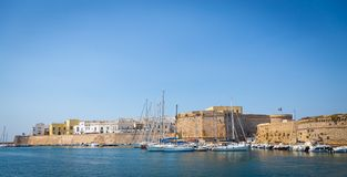 Gallipoli, Italy - historical centre view from the sea Royalty Free Stock Images