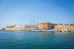 Gallipoli, Italy - historical centre view from the sea Stock Image