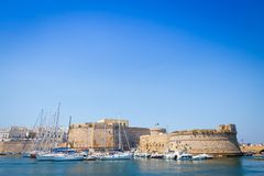 Gallipoli, Italy - historical centre view from the sea. The harbour and the old walls of Gallipoli, Puglia Region - South Italy Royalty Free Stock Photos
