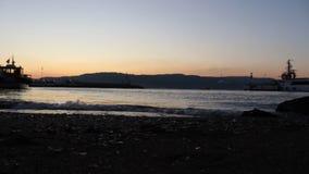 Gallipoli peninsula and sunset. In Çanakkale Strait stock video