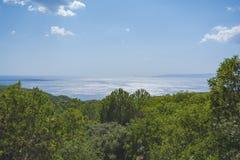 Gallipoli sunset panorama. Countryside, sea and Gallipoli island on horizon royalty free stock photography