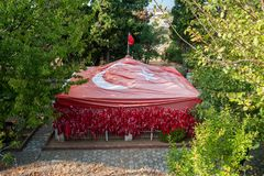 GALLIPOLI, TURKEY- DEC 29, 2017: Flag Baba Tomb helm of Karacabey defendant who sacrificed his life to surrender his. Flag to enemy after his friends were royalty free stock photo