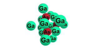 Gallium arsenide molecular structure isolated on white. Gallium arsenide - GaAs - is a compound of the elements gallium and arsenic. It is a bandgap vector illustration