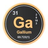 Gallium Ga chemical element. 3D rendering. Isolated on white background royalty free illustration