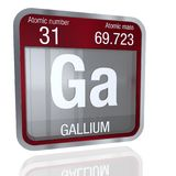 Gallium symbol in square shape with metallic border and transparent background with reflection on the floor. 3D render. Element number 31 of the Periodic Table stock illustration