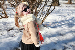 Gallivant girl posing in snow Royalty Free Stock Photography