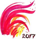 Gallo Año del gallo Año Nuevo chino del gallo Tarjeta del Año Nuevo del gallo de la acuarela Imagen de archivo