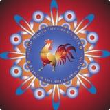 Gallo ardiente en copo de nieve ilustración del vector
