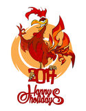 Gallo ardiente rojo de la mascota lunar del Año Nuevo y de la Navidad Stock de ilustración