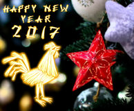 Gallo chino 2017 nuevo Year& x27; fondo del diseño de s stock de ilustración