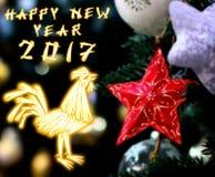 Gallo cinese 2017 nuovo Year& x27; fondo di progettazione di s Fotografia Stock Libera da Diritti