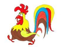 Gallo colorido en un fondo blanco Fotos de archivo libres de regalías