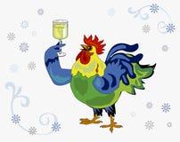 Gallo con il vetro di vino Immagini Stock Libere da Diritti