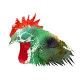 Gallo de la acuarela Fotografía de archivo