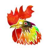 Gallo de la acuarela Fotografía de archivo libre de regalías