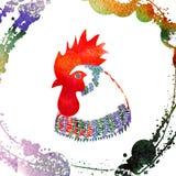 Gallo de la acuarela Imagen de archivo libre de regalías