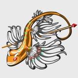 Gallo de la estatuilla de los pescados del oro con las piedras preciosas Imagenes de archivo