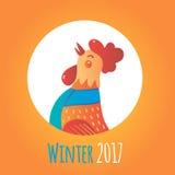 Gallo de la historieta en marco redondo Invierno 2017 Imagenes de archivo