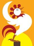 Gallo de la salida del sol stock de ilustración