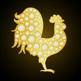 Gallo de oro con los diamantes en fondo negro Ilustración del vector 2017 Años Nuevos feliz Fotografía de archivo libre de regalías