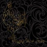 Gallo de oro en un fondo negro Imagenes de archivo