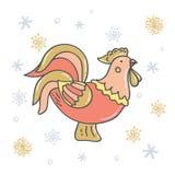 Gallo decorativo con los copos de nieve oro y plata stock de ilustración