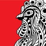 Gallo decorativo del fuego en el estilo del garabato, zentangle Desig Fotografía de archivo