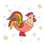 Gallo decorativo luminoso con i fiocchi di neve Simbolo del nuovo anno cinese illustrazione di stock