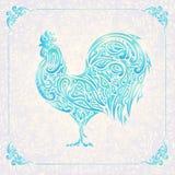 Gallo del estampado de flores ilustración del vector