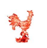 Gallo del fuego rojo, símbolo de los nuevo 2017 años Collage de la foto de la llama roja, aislado en el fondo blanco Foto de archivo libre de regalías