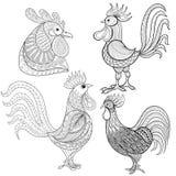 Gallo del fumetto di Zentangle, insieme del gallo Schizzo disegnato a mano per l'adulto Immagine Stock