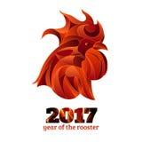 Gallo del fuoco, illustrazione cinese di vettore del nuovo anno Fotografia Stock
