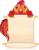 Gallo del fuoco rosso con il rotolo Immagini Stock